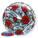 """22"""" I Love You Red Rose Filigree bubble balloon"""