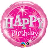 "18"" Happy Birthday Gnistrande Rosa 45 cm"